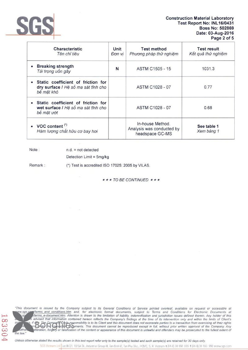 BongTiles Test Report Page 2
